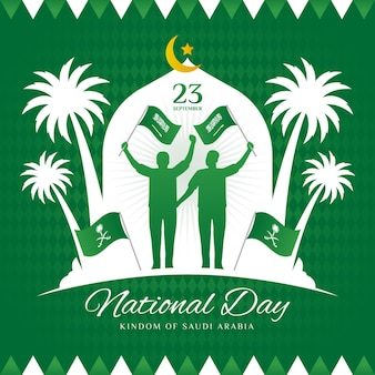 Saoedische nationale feestdag met mensen die vlaggen houden