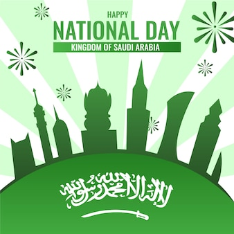 Saoedische nationale feestdag met vuurwerk
