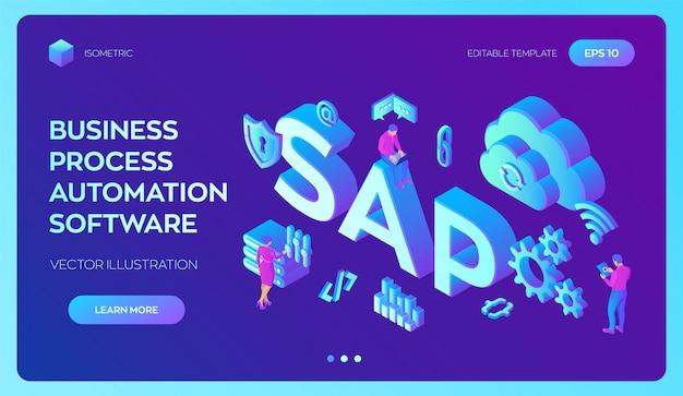 Sap bedrijfsprocesautomatiseringssoftware. erp-systeem voor enterprise resources-planning.