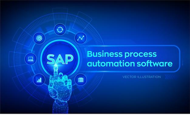 Sap bedrijfsprocesautomatiseringssoftware. robotachtige hand wat betreft digitale interface.