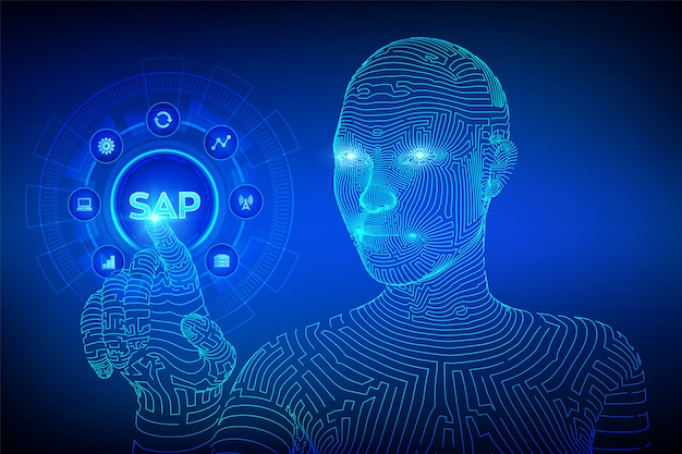 Sap business process automatisering software concept op virtueel scherm. wireframed cyborghand wat betreft digitale interface.