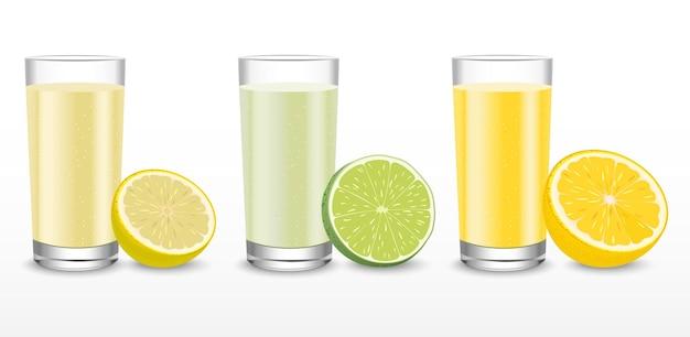 Sap in een glas met keuze uit verschillende soorten sinaasappels