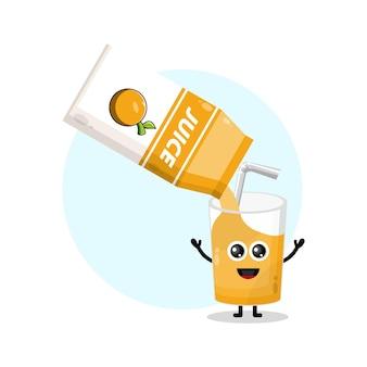 Sapdoos oranje glas schattig karakter logo