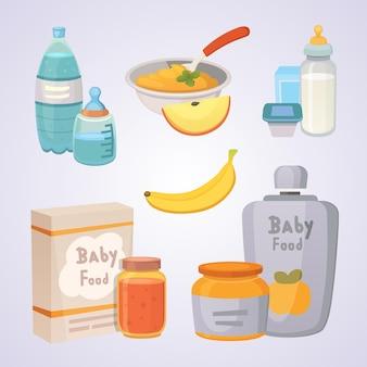 Sappen en puree van groene appels en broccoli voor baby's