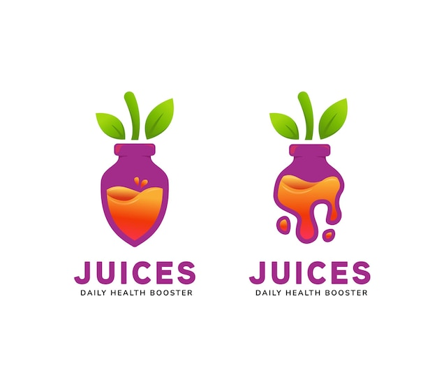 Sappig flessensap logo in paarse bieten fruit vorm fles pictogram symbool illustratie