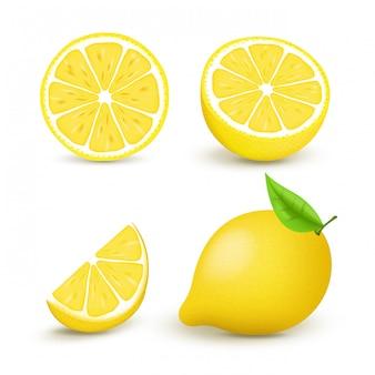 Sappige citroen set met schijfje en bladeren. vers citrusvruchtengeheel en de helften geïsoleerde illustratie. 3d geïsoleerd op witte achtergrond