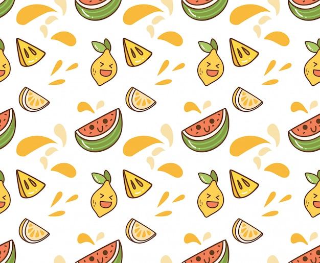 Sappige fruit kawaii achtergrond