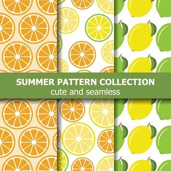 Sappige patrooncollectie met citroenen en sinaasappels.