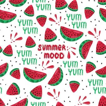 Sappige rijpe watermeloen plakjes naadloze patroon lekker tekst zomer stemming belettering vector print