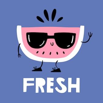 Sappige watermeloen in zonnebril