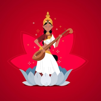 Saraswati-godin die een instrument bespeelt