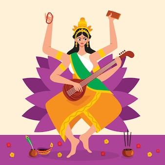 Saraswati-godin hand getrokken