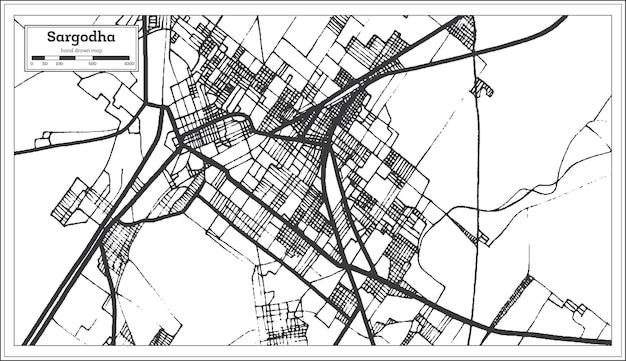 Sargodha pakistan stadsplattegrond in retro stijl in zwart-witte kleur. overzicht kaart. vectorillustratie.