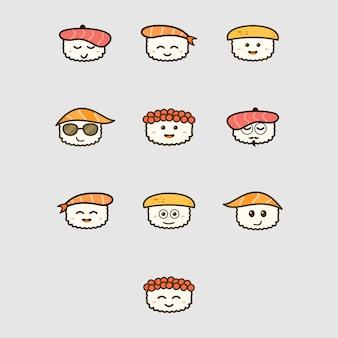 Sashimi gezichten emoji icon set