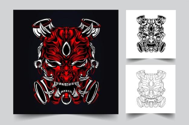 Satan gezicht kunstwerk illustratie