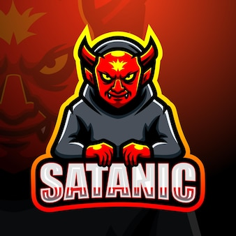 Satanische mascotte esport illustratie