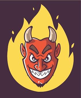 Satans hoofd staat in brand. helse halloween karakter.