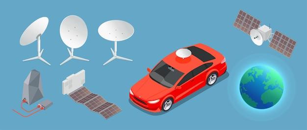 Satelliet, aarde, auto en antennes Gratis Vector