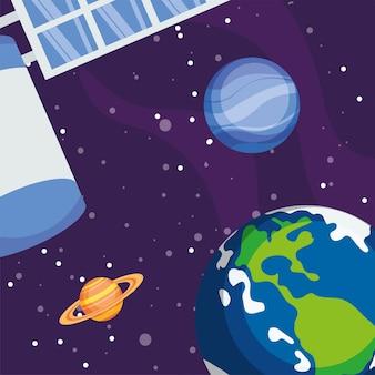 Satelliet aarde saturnus en neptunus in de ruimte van het universum