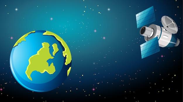 Satelliet in de ruimtescène