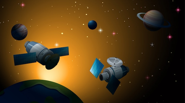 Satelliet in ruimtescène of achtergrond