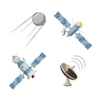 Satelliet ingesteld. cartoon set van satelliet