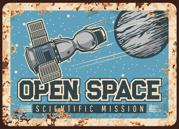 Satelliet open ruimte wetenschappelijke missie vector roestige metalen plaat.