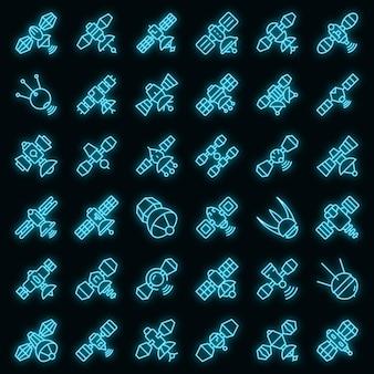 Satelliet pictogrammen instellen. overzicht set van satelliet vector iconen neon kleur op zwart