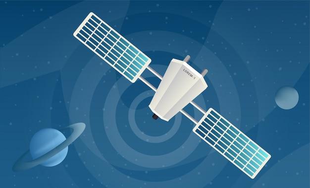 Satelliet verzenden signaal platte vectorillustraties