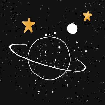 Saturnus-illustratie, schattige handgetekende aquarelvector