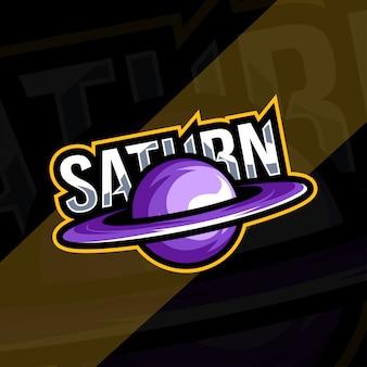 Saturnus planeet mascotte logo esport ontwerp