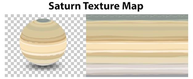 Saturnus-planeet op transparant met saturnus-structuurkaart