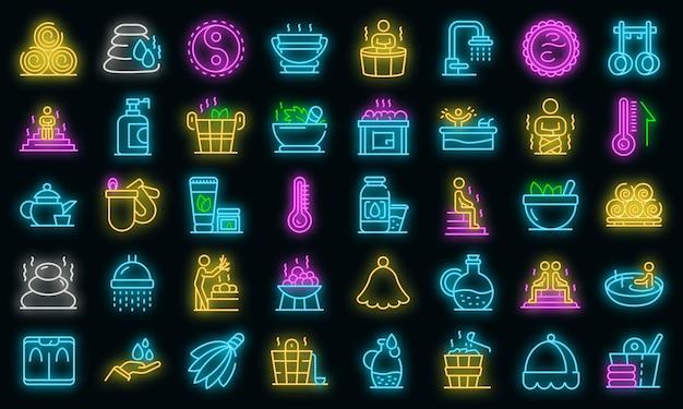 Sauna pictogrammen instellen. overzicht set sauna vector iconen neon kleur op zwart