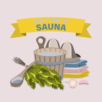 Saunaaccessoires. platte vectorillustratie.