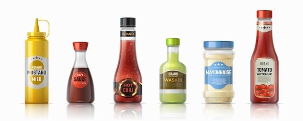Saus flessen. ketchup mayonaise en mosterd realistische containers, hete chili en sojasauzen