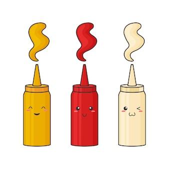 Saus kawaii. mosterd, ketchup, mayonaise. pakje hete kruidensaus in fles. voedsel illustratie