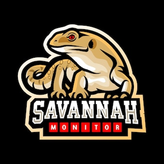 Savannah monitor mascotte esport logo-ontwerp