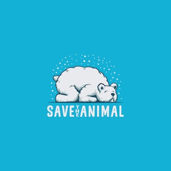 Save bear animal logo illustration