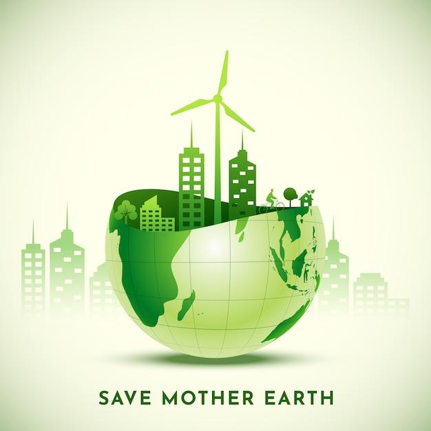 Save mother earth concept met uitzicht op eco city over glanzende halve wereldbol.