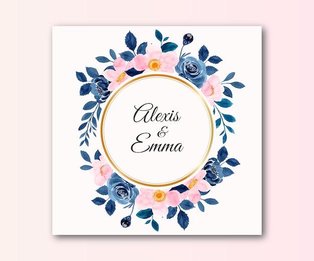 Save the date aquarel blauw roze bloem met gouden cirkel