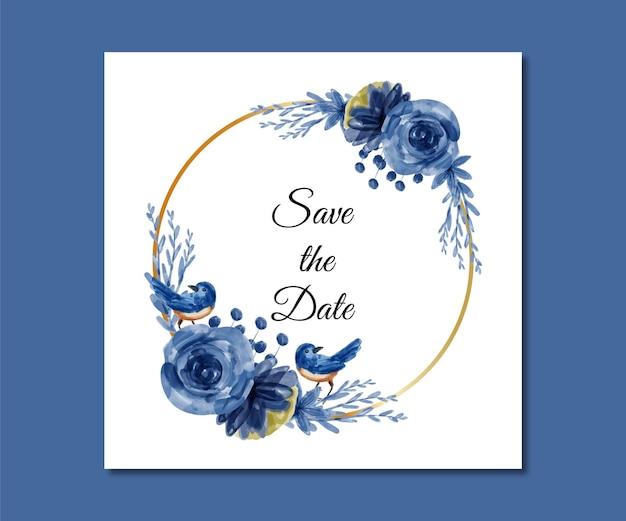 Save the date aquarel blauwe bloemen en vogels