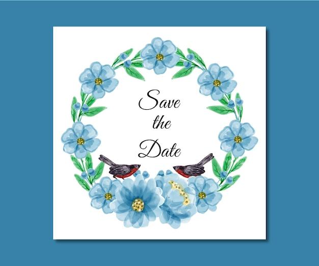 Save the date aquarel bloemen premium