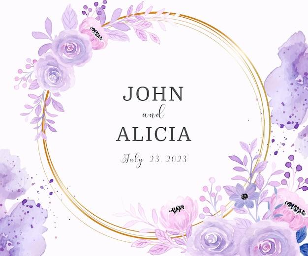 Save the date aquarel paarse bloemen met gouden cirkel