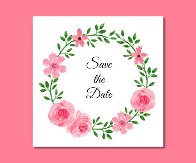 Save the date aquarel roze bloemen