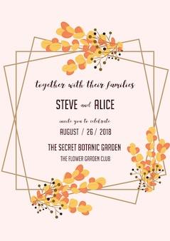 Save the date huwelijksuitnodiging orange wreath leaf