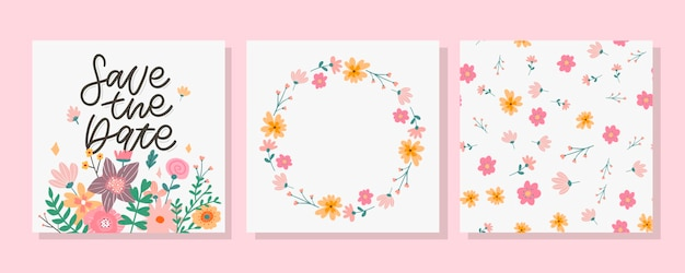 Save the date kaart en bloemmotief set
