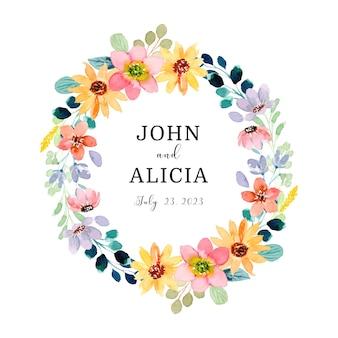 Save the date kleurrijke bloemenkrans met waterverf
