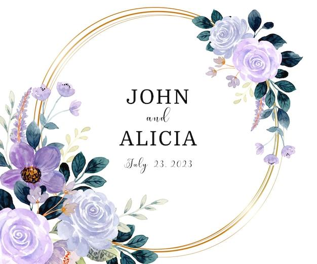 Save the date paars groene bloemen aquarel met gouden cirkel Gratis Vector