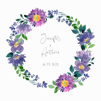 Save the date paars groene bloemenkrans met aquarel