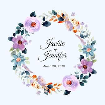 Save the date paarse bloemenkrans met waterverf